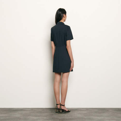 Tailored dress with button fastening - Navy