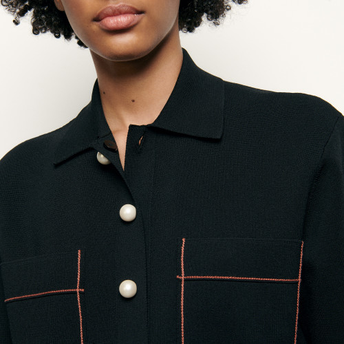 Shirt style cropped cardigan - Black