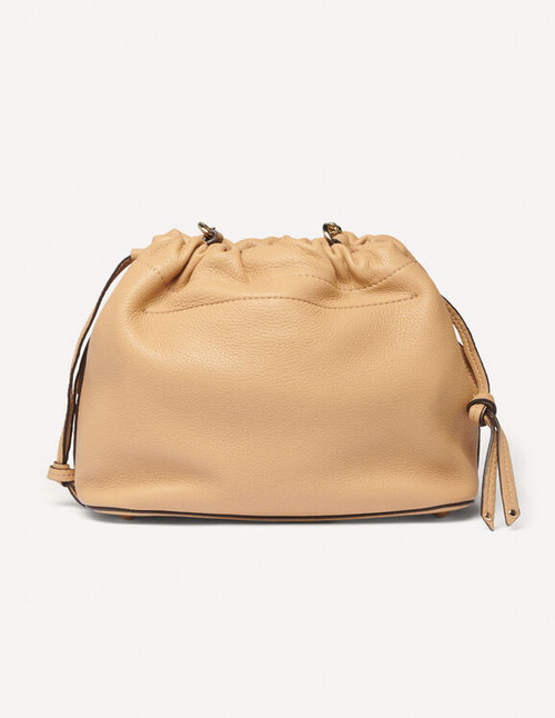 Grained leather bucket bag in ecru - Camel