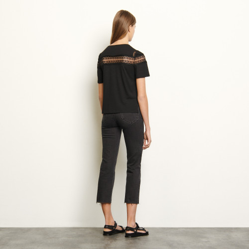 T shirt with lace - Black