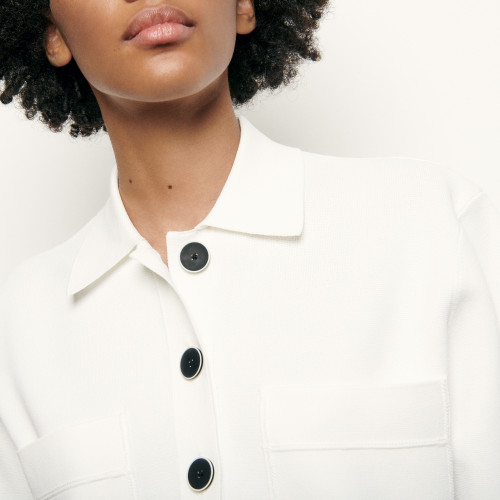 Cropped shirt style knitted cardigan - White
