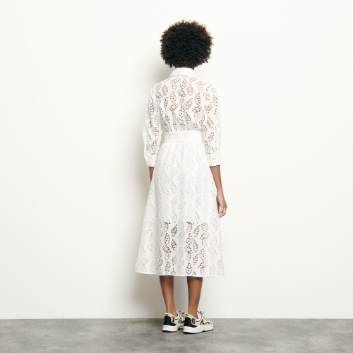 Long shirt dress in broderie anglaise - White