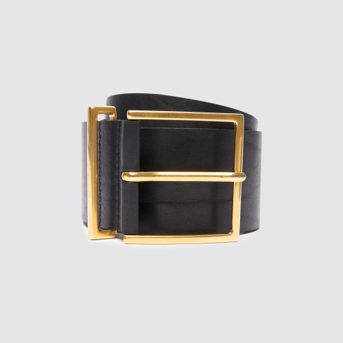 Sandro wide black belt leather