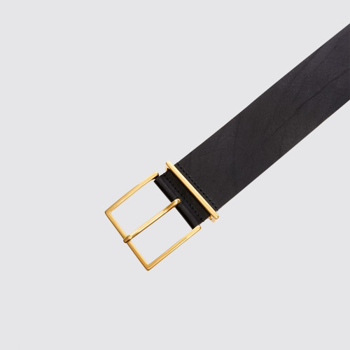 Wide leather black belt - Black