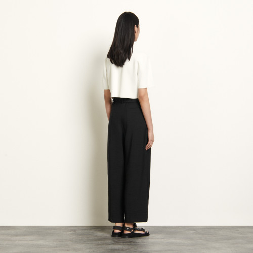 High waisted trousers with belt - Black