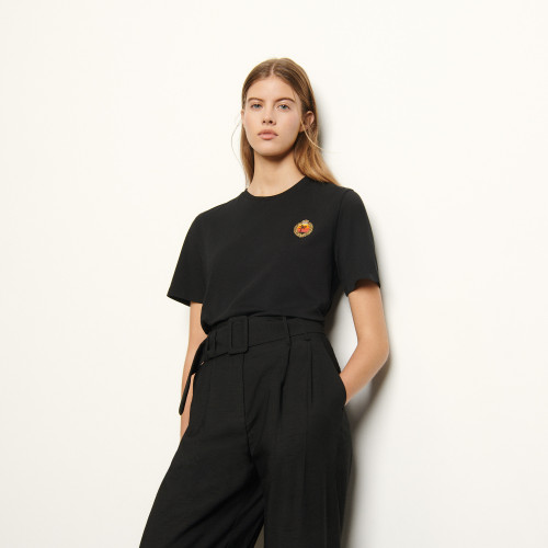 T shirt with patch on the chest - Black