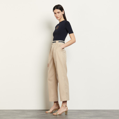 Cotton gabardine trousers  - Beige