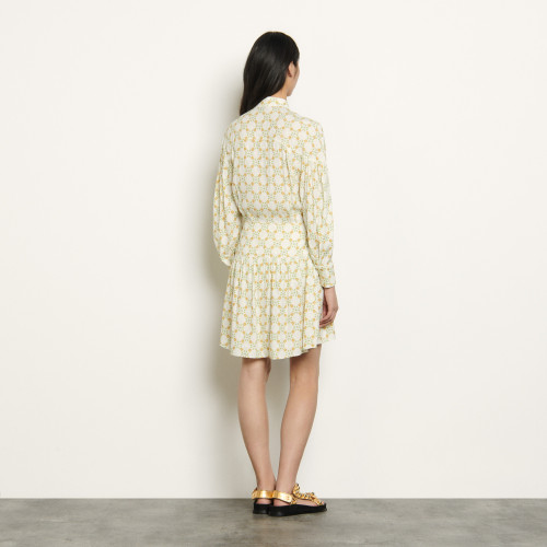 Short dress in printed jacquard - Ecru