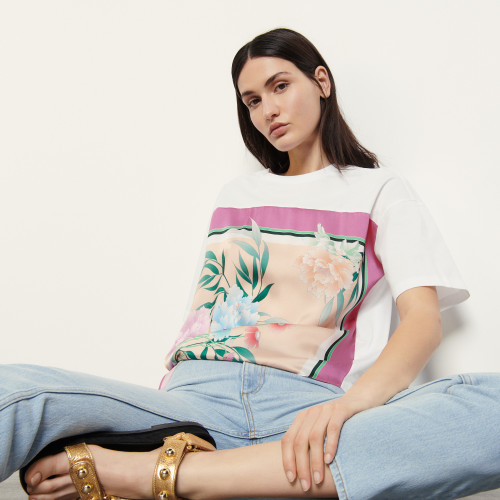 Sandro Cotton T shirt with embroidery