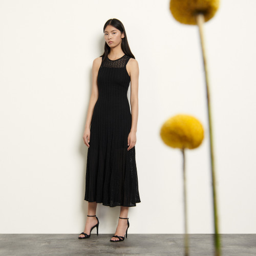 Long sleeveless dress in fancy pointelle - Black