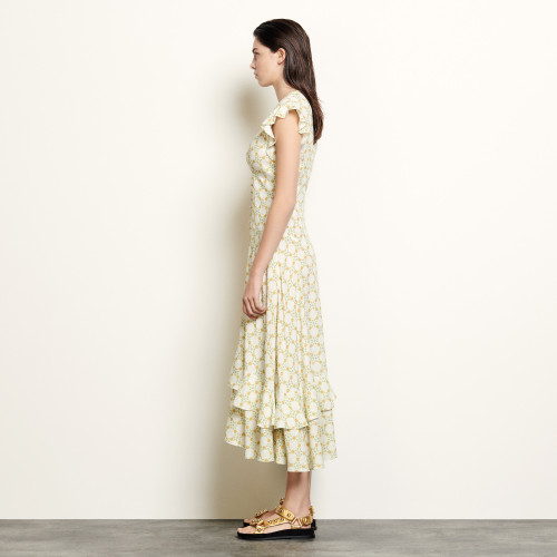 Long dress in printed jacquard  - Ecru