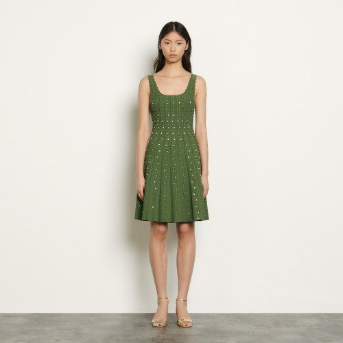 Knitted dress with bead jewels - Green