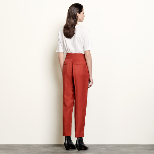 High waisted tailored trousers - Red
