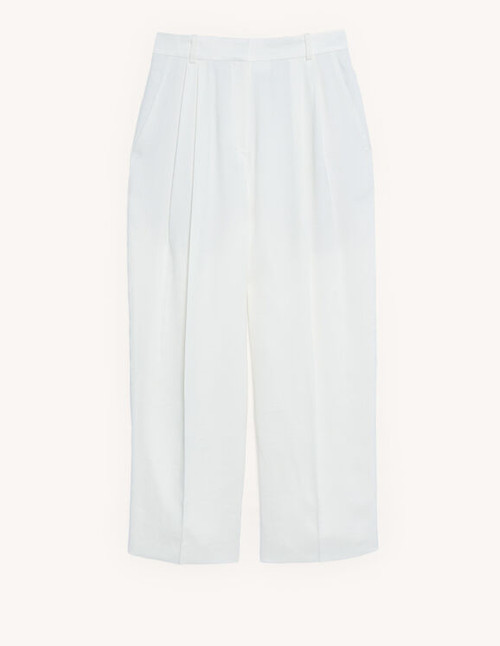 Linen blend high waisted trousers - Ecru