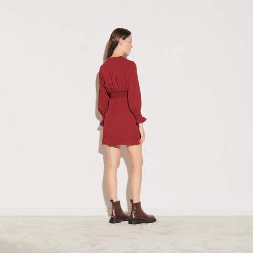 Dress with press studs and smocked belt - Red