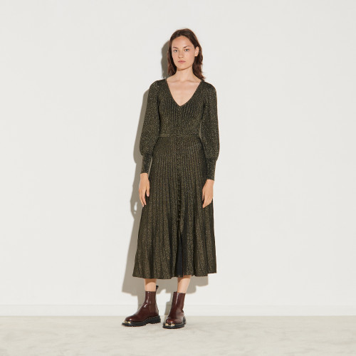Long button up dress in lurex knit - Black