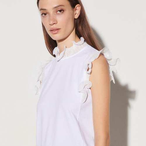 Vest top with ruffled collar and sleeves - White