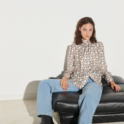 Printed silk twill shirt  - White