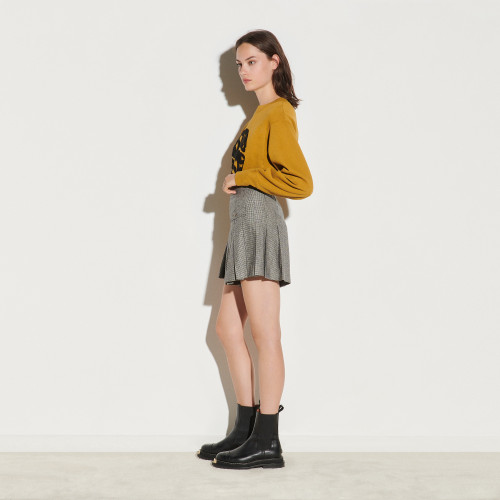 Short skirt with houndstooth pattern - Black