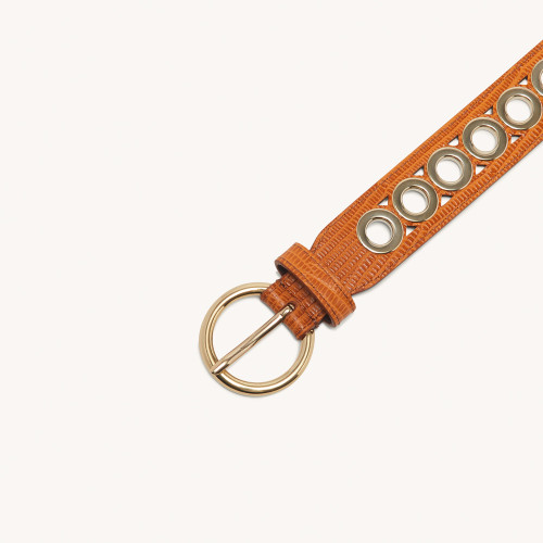 Bronze Belt With Eyelets - Gold