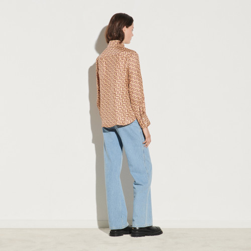 Printed shirt with tie collar - Beige