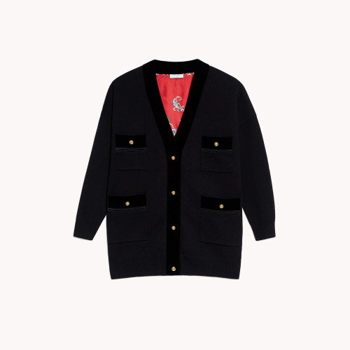 Cardi coat with printed lining - Black