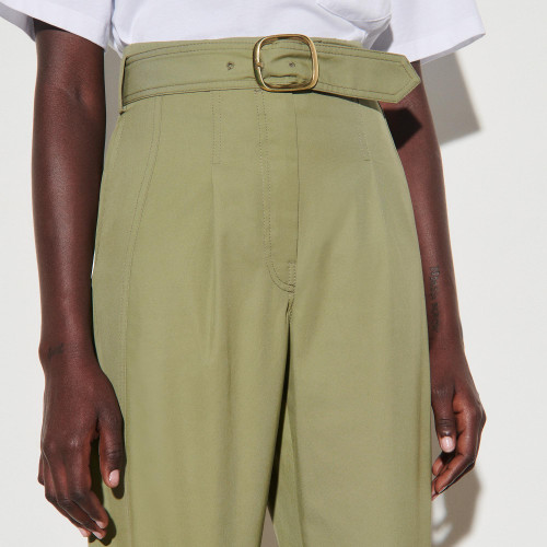High waisted wide leg gabardine trousers - Green