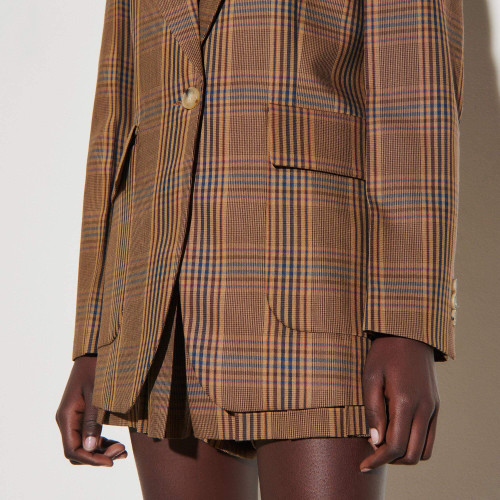 Checked tailored jacket - Brown