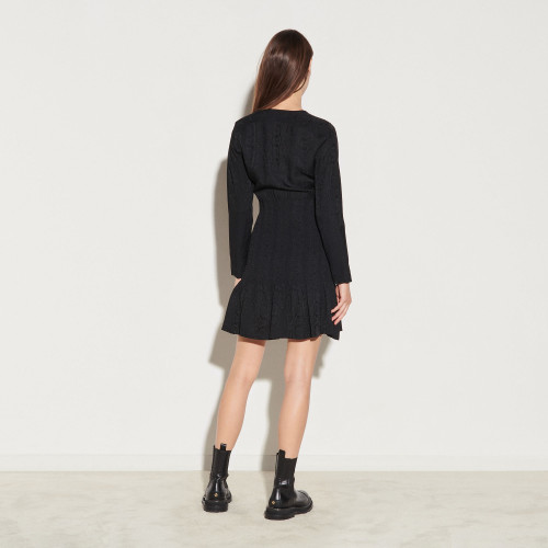 Short dress with smocking - Black