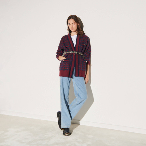 Checked cardigan with sequins - Navy