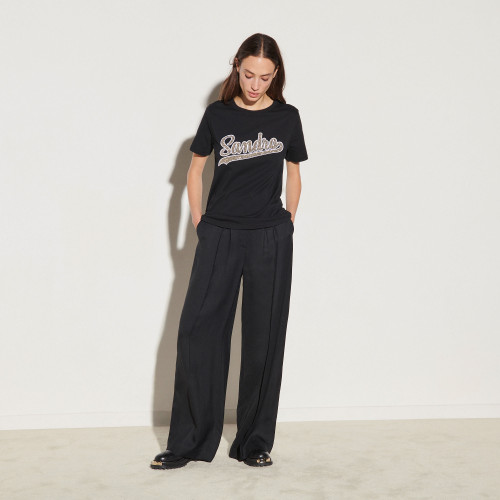 T shirt with lamé fabric patch - Black