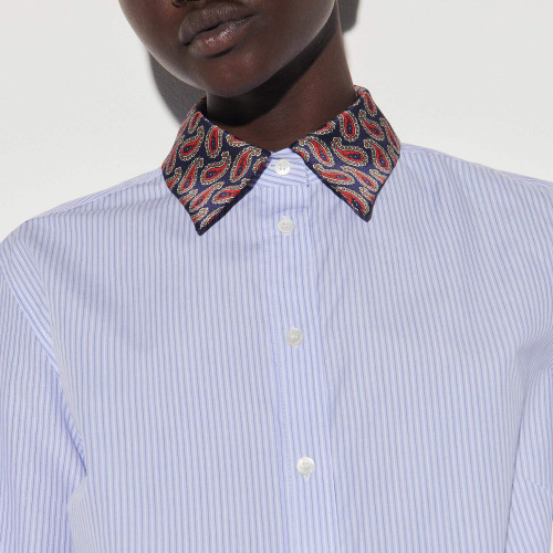 Striped shirt with printed collar - Blue