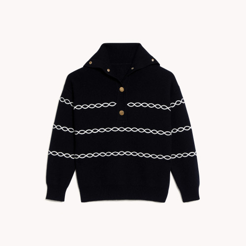 Breton sweater with contrasting cables  - Black