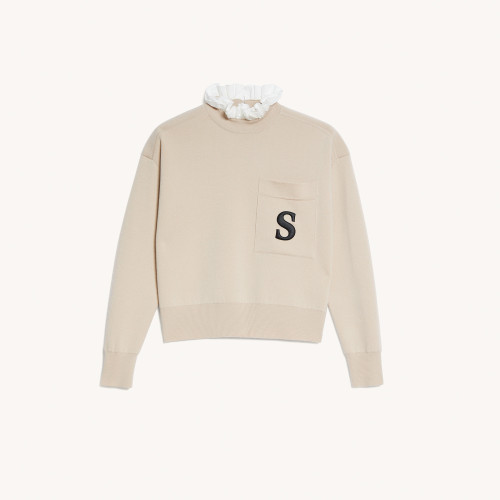Sweater with contrasting ruffled collar - Beige