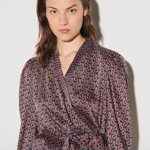 Wrapover top with tie print - Navy