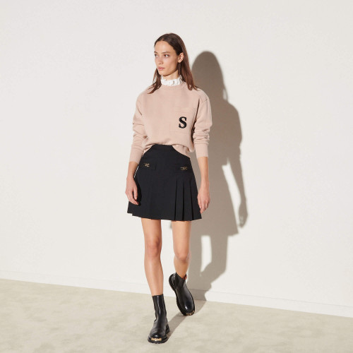 Short skirt with stitched pleats - Black