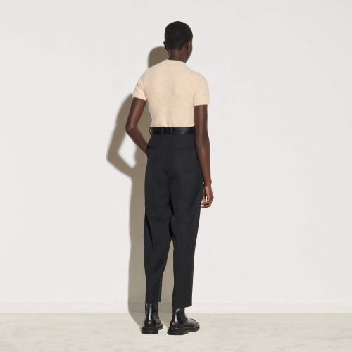 Straight leg dual-material trousers - Black