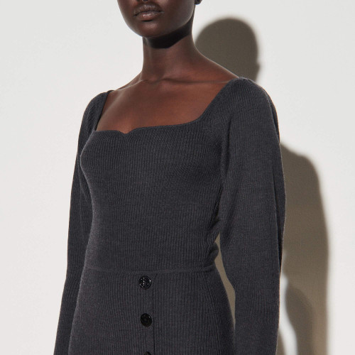 Knit dress with slit - Grey