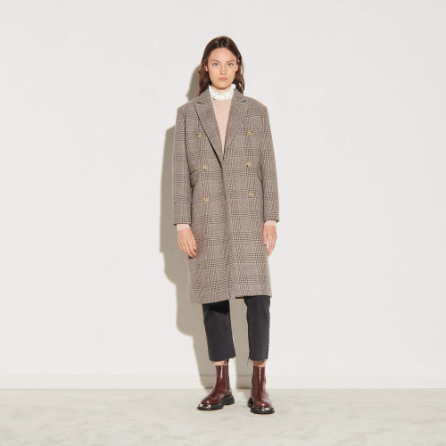Long checked coat  - Beige