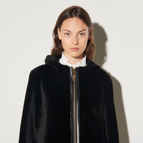 Hooded sheepskin coat  - Black