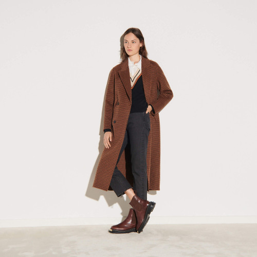 Long oversized wool coat - Brown