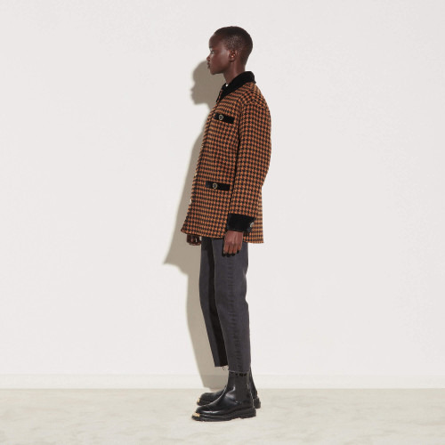 Checked wool jacket with belt - Brown