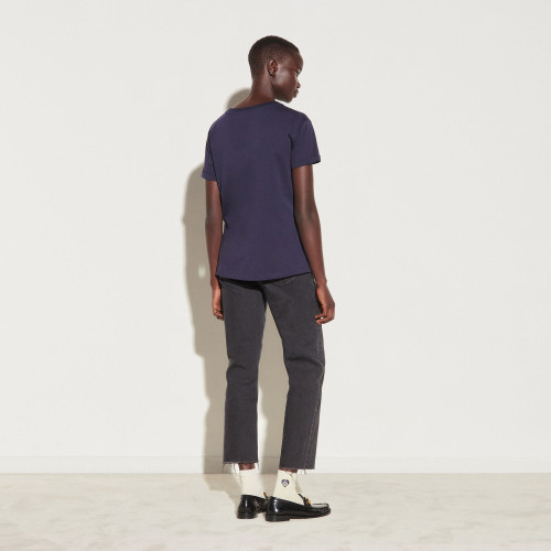 Sandro chain embroidery T shirt - Navy