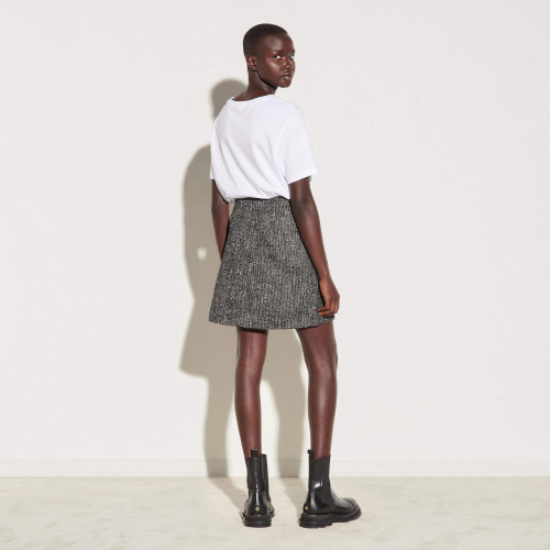Short tweed skirt with chain trim - Black