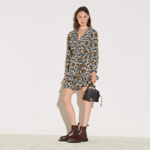 Short printed dress - Ecru