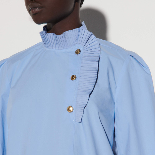Poplin top with pleated collar - Blue