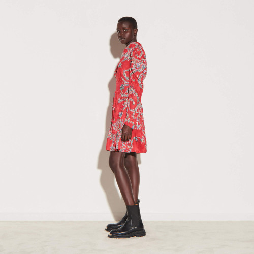 Short printed dress with draped neckline - Red