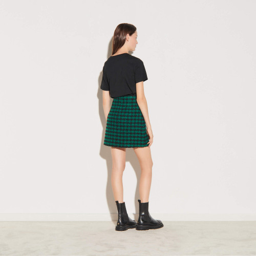 Short high waisted tweed skirt - Green