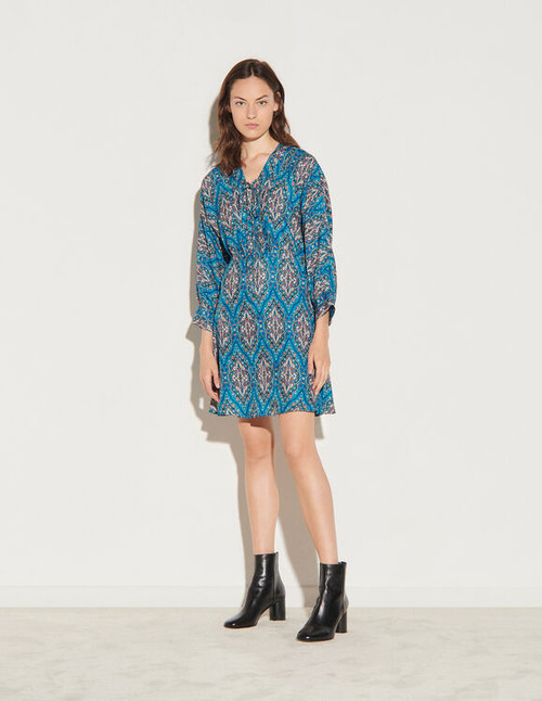 Short printed dress with lacing - Navy