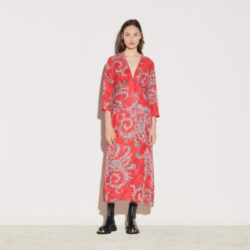 Printed midi dress - Red